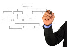 Businessman drawing an organization chart stock photography