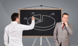 Businessman drawing pie chart Stock Images
