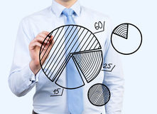Businessman drawing pie chart Stock Photography