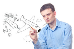 Businessman drawing  plane Stock Photo