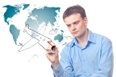 Businessman drawing plane Royalty Free Stock Photos