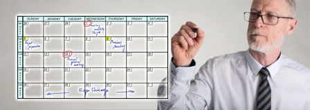 Businessman drawing planner concept. Planner concept drawn by a businessman Royalty Free Stock Images