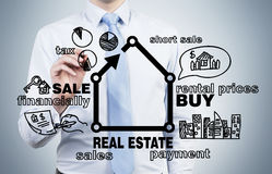 Businessman drawing real estate Stock Images