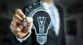 Businessman drawing renewable eco lightbulb sketch Royalty Free Stock Photos