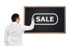 Man drawing sale Royalty Free Stock Photos