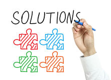 Businessman drawing solutions concept Royalty Free Stock Photo