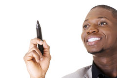 Businessman drawing something abstract Royalty Free Stock Image