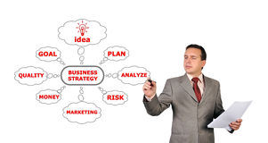 Businessman drawing strategy Stock Photo