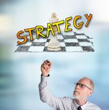 Businessman drawing strategy concept. Strategy concept drawn by a businessman Royalty Free Stock Photo