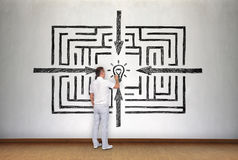 Businessman drawing success labyrinth Stock Photos