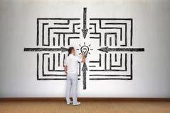 Businessman drawing success labyrinth Stock Photos