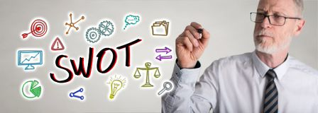 Businessman drawing swot concept stock images