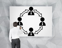 Businessman drawing teamwork symbol Stock Photo