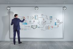 Businessman drawing thin line icon project plan presentation. On a wall royalty free illustration