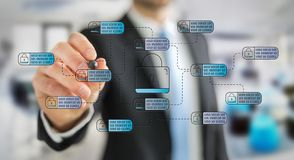 Businessman drawing thin line web security interface stock photo