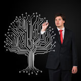Businessman drawing tree Stock Photo
