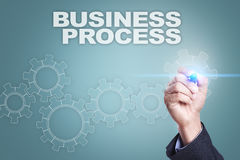 Businessman drawing on virtual screen. business process concept Royalty Free Stock Photos
