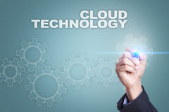 Businessman drawing on virtual screen. cloud technology concept.  Royalty Free Stock Images
