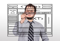 Businessman  drawing website Stock Images