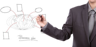 Businessman drawing the world map. Royalty Free Stock Photography