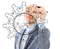 Businessman drawing the world map Royalty Free Stock Photos