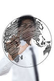 Businessman Drawing World Map Globe line Stock Image