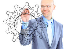 Businessman drawing the world map Stock Image