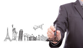 Businessman drawing World travel Royalty Free Stock Images
