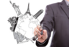 Businessman drawing World travel Royalty Free Stock Photos