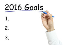 Businessman drawing year2016 goals concept Stock Photography
