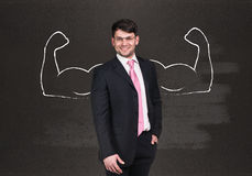 Businessman with drawn powerful hands Stock Photos