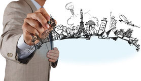 Businessman  draws dream travel around the world Stock Images