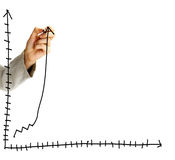 Businessman draws a graph Royalty Free Stock Images