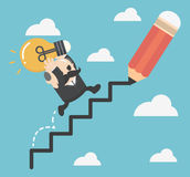 Businessman draws stairs and walking up. Reaching goal.Growth to. Success. eps.10 Stock Images
