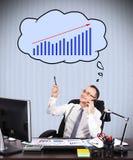 Businessman dreaming at chart Royalty Free Stock Photos