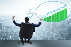 The businessman dreaming of economy and market recovery growth Royalty Free Stock Photo