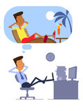 Businessman dreaming about vacation. Businessman sitting in the office and dreaming about vacation Royalty Free Stock Image