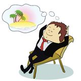 Businessman dreaming about vacation ,vector. Illustratoin. concept Stock Photo