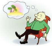 Businessman dreaming about vacation ,vector Stock Photos