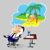 Businessman dreaming about vacation at workplace. Illustration of a businessman dreaming about holiday at sea. Isolated on white background Royalty Free Stock Photography