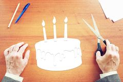 Businessman dreams in loneliness about Happy Birthday Royalty Free Stock Photo