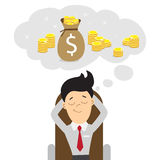 Businessman dreams of money. Stock Images