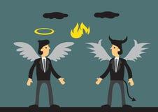 Businessman Dressed as Angel and Devil Vector Illustration stock illustration
