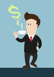 Businessman drink coffee or tea. steam in money symbol shape com out of cup. Stock Photo