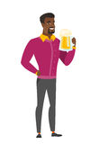 Businessman drinking beer vector illustration. Cheerful african business man drinking beer. Full length of smiling businessman with beer. Young happy business Royalty Free Stock Photos
