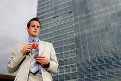 Businessman drinking coffee Royalty Free Stock Photos