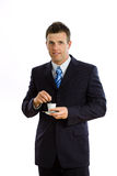Businessman drinking coffee isolated Stock Photos