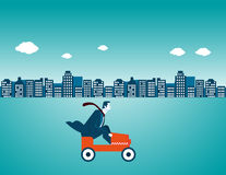 Businessman driving a car in city. Concept business illustration. Vector flat Royalty Free Stock Image