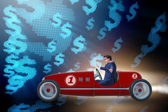 The businessman driving car in money concept Royalty Free Stock Photography