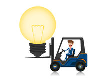 Businessman driving forklift loaded with big light bulb idea. Creative idea concept. Royalty Free Stock Photography